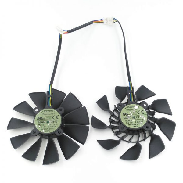 New Original EVERFLOW T129215SU DC 12V 0.5A VGA Card Cooling Fan For Graphics Card ASUS GTX780 GTX780TI R9 280 290 R9 280X 290X