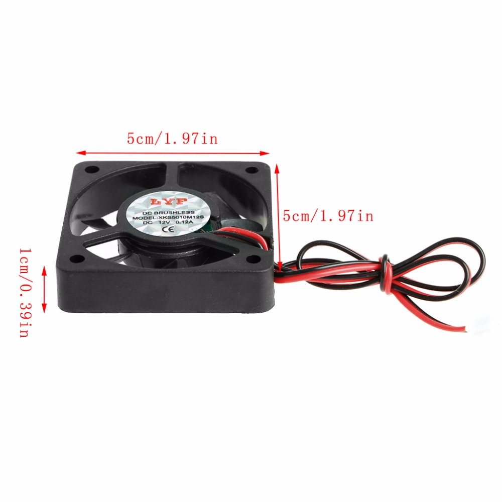 New 50x50x10mm Dc 12v 012a 2 Pin Pc Computer Cpu System Brushless Wiring Diagram Further Blower Puter Fan On Dell Cooling