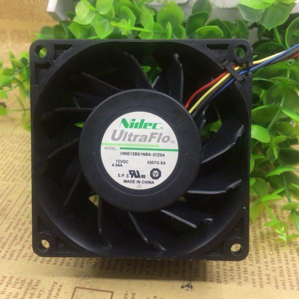 Original NIDEC V80E12BS1NB5-07Z04 80*80*38mm 8CM DC 12V 4.54A 4 Lines Server Coooling Fan