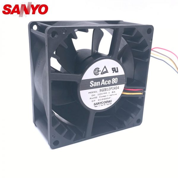 Original SANYO 9G0812P1K04 12V 1.8A 8038 80*80*38mm 107.3cfm 7800RPM 8CM four wire PWM 4P powerful axial case cooling fan
