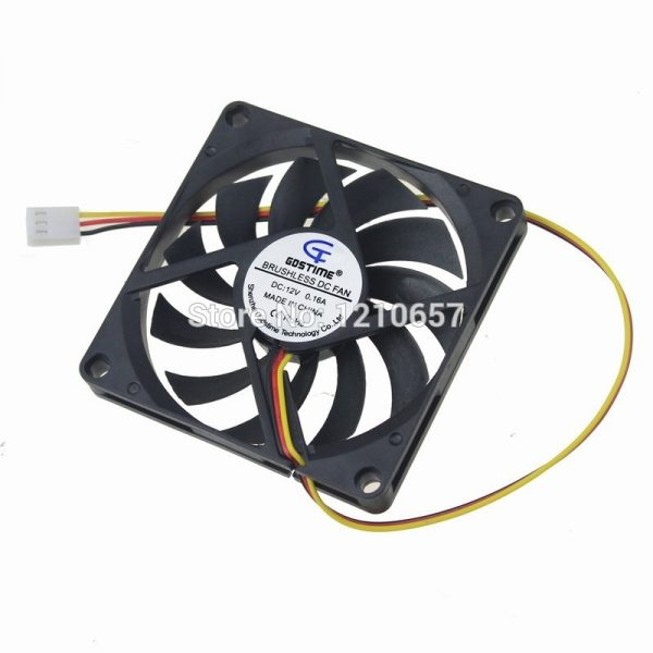 2PCS Gdstime 3Pin 8cm 80x10mm 80mm x 80mm x 10mm DC 12V Brushless Cooling Cooler CPU Fan