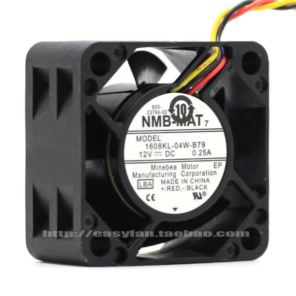 NMB-MAT 1608KL-04W-B79 LB2 DC 12V 0.25A Server Cooling Fan Server Square Fan 3-wire 40x40x20mm