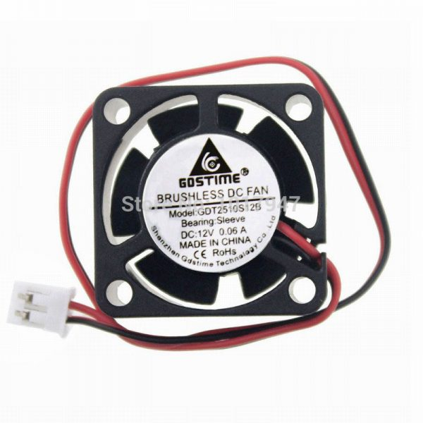 10 Pieces LOT Gdstime DC 12V 2P Mini Brushless Cooling Fan 2510S 25mm 25x25x10mm Ventilation Axial Flow Duct Cooler