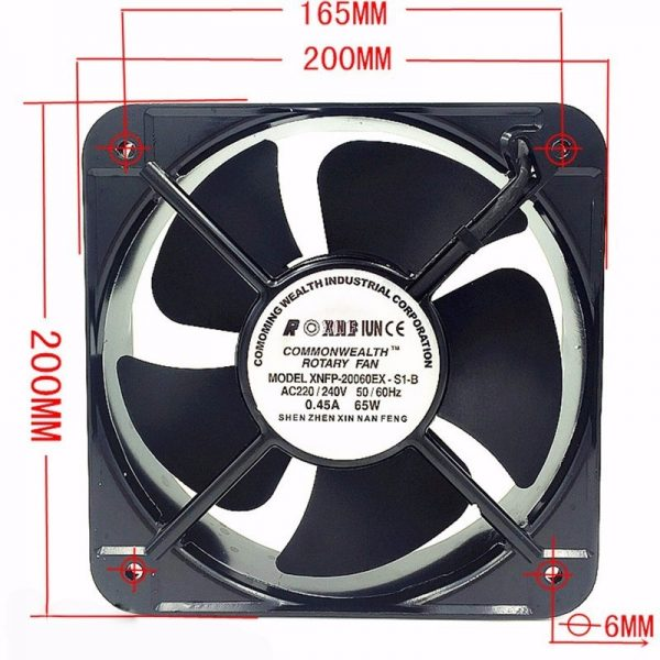 New FP20060EX-S1-B 20CM 200x200x60 MM 20060 AC 220V Double Ball Bearing Case Industrial Axial Fan
