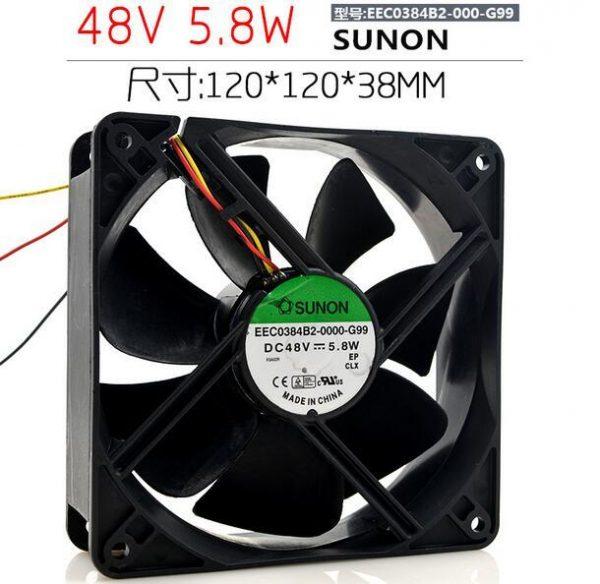 SUNON EEC0384B2-0000-G99 DC 48V 5.8W 3-Wire Cooling Fan