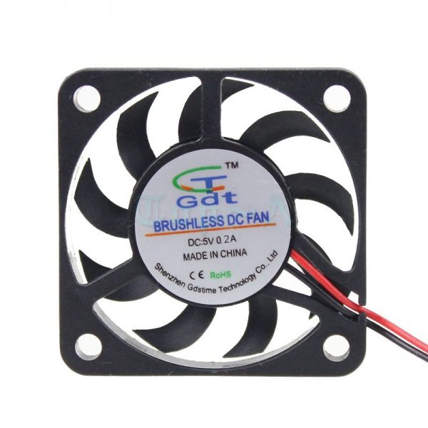 Gdstime 2pcs 2Pin 2.0 Small Mini DC Cooling Fan 40x40x7mm 40mm 4cm 5V 6500RPM Cooler