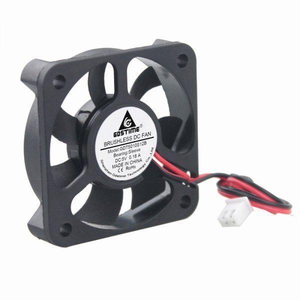 5pcs Gdstime DC 5 Volt 2Pin Industrial Axial Cooler Cooling Fan 5010 50x50x10mm 50mm x 10mm 5V 7 Blades