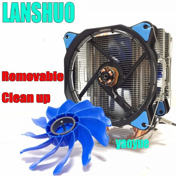 LANSHUO PC AMD Intel Processor cooling 12cm mm 6 Heat Pipe Heat Sink Radiator Fan LED CPU Cooler LGA 775 115X 1366 2011 AM3 AM4