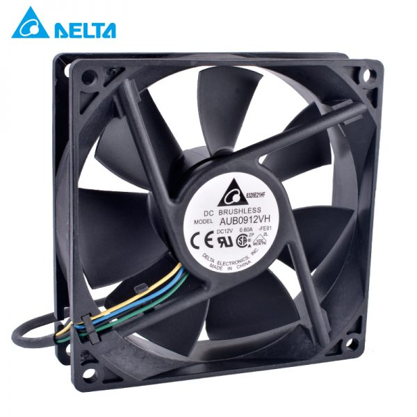 Original Delta AUB0912VH 9025 90mm fan 12V 0.60A Computer CPU cooler 4-wire 4pin PWM fan