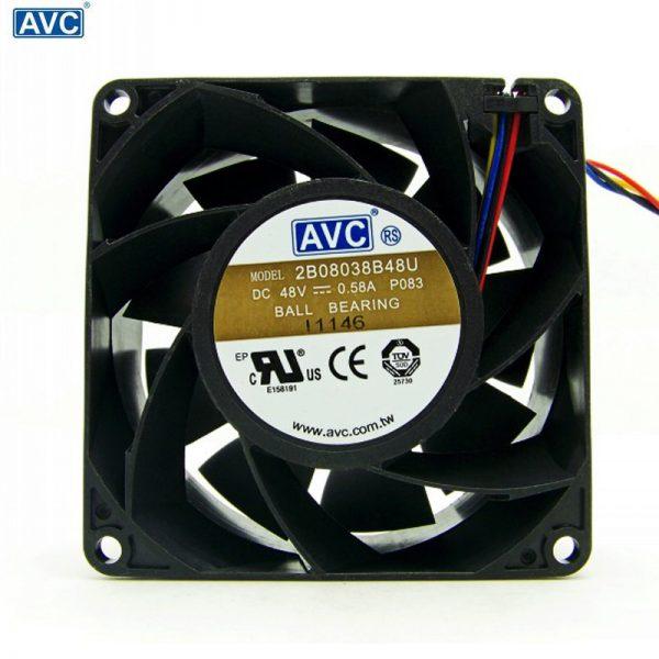 AVC 2B08038B48U 48V 0.58A 8CM 8038 4-P PWM Case cooling Fan powerful 80*80*38mm