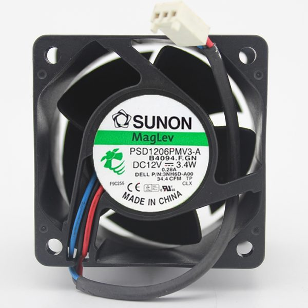 Original SUNON 60*60*38MM 6cm PSD1206PMV3-A DC 12V 3.4W 0.28A 3 line Server Cooling Fan