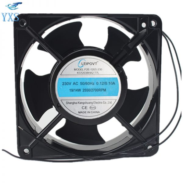 F2E-120S-230 AC 230V 0.12A/0.11A 50/60HZ 19W/14W 2700RPM 2 Wires 12038 12cm 120*120*38mm Electric Cabinet Cooling Fan