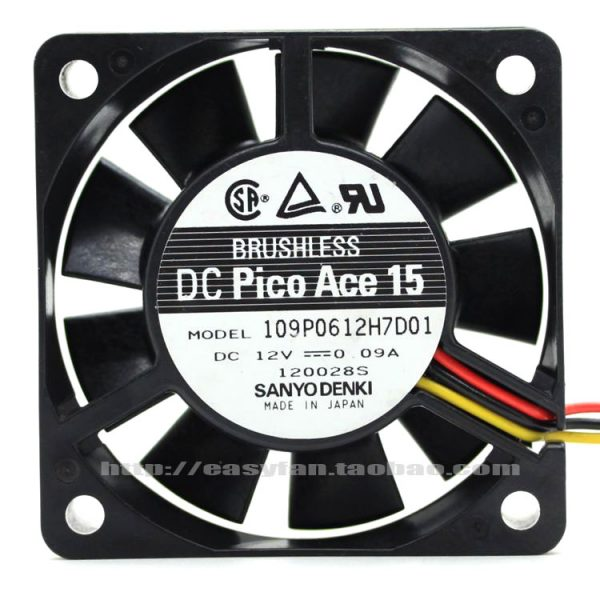 Sanyo 109P0612H7D01 DC 12V 0.09A 60x60x15mm Server Square fan
