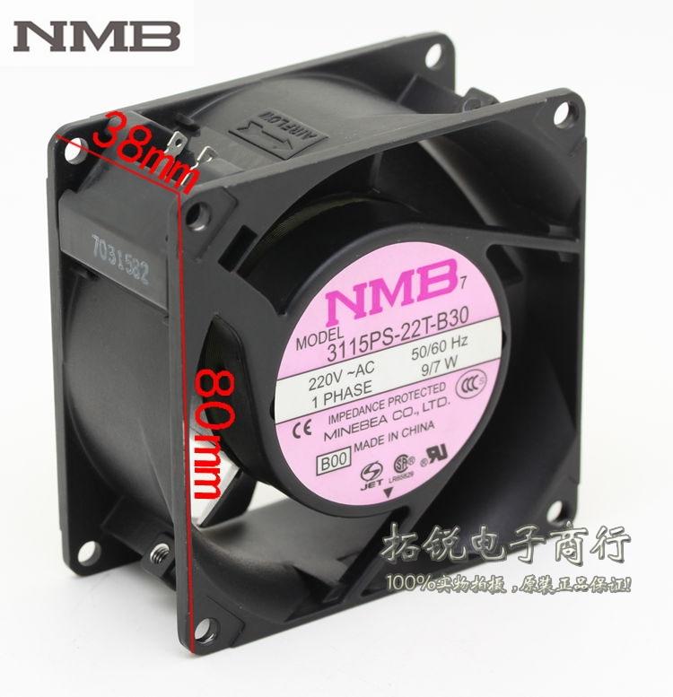 NMB 3115PS-22T-B30 8038 8cm 220V 9 / 7W AC aluminum metal frame axial cooling fan