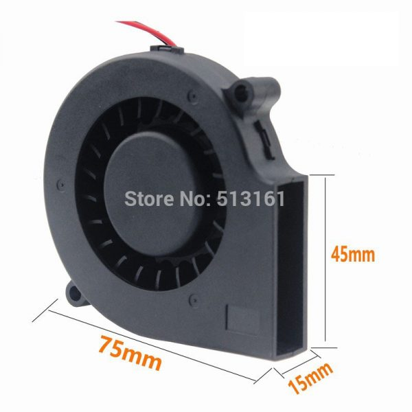 Gdstime 24V 2Pin 75mm 75x15mm DC Turbine Blower Fans Computer Industry Cooler Cooling Fan