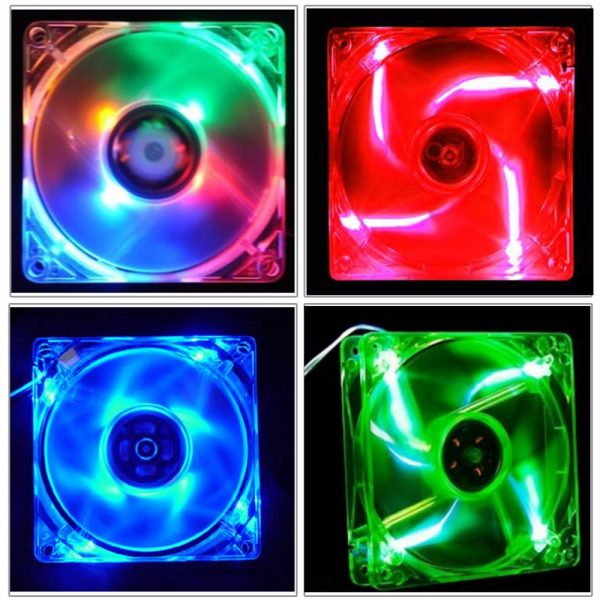 80x80x25mm 80mm 8CM 8025 Computer PC Square CPU 4Pin Cooling Fan With 4-LED Lights Chassis Fan 4D Plug Axial Fan Lots