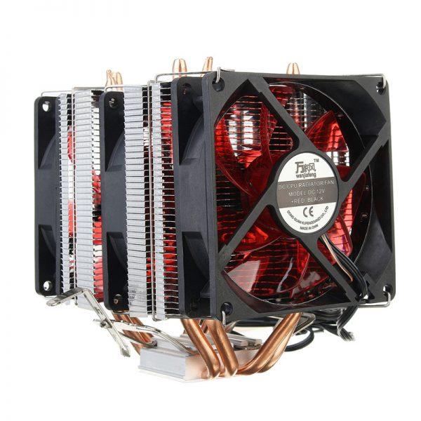 4 Copper Pipe Cooling Fan Red LED Three CPU Cooler Fan Aluminum Heatsink for Intel LGA775 / 1156/1155 AMD AM2 / AM2 + / AM3 ED