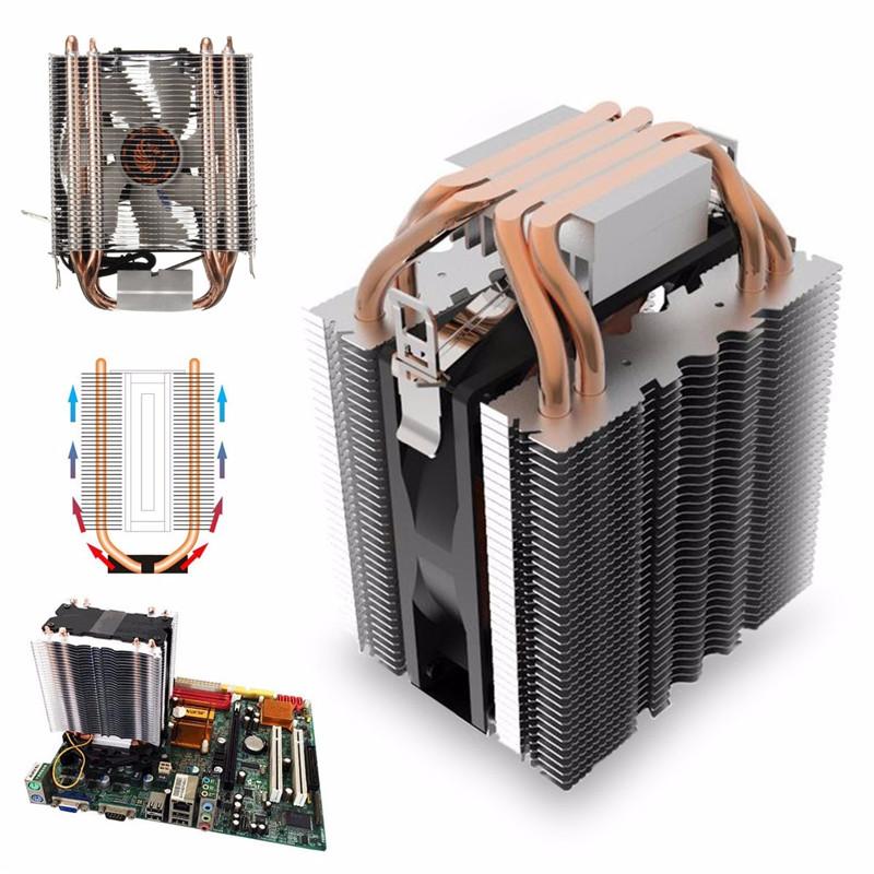 CPU Cooler 2 Heat pipe Dual Cooling Fan 3 Pin Radiator for LGA 775//1155//1156 AMD