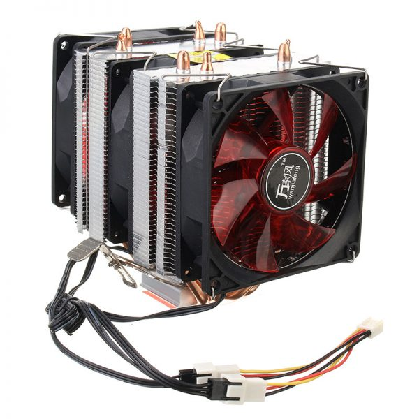 Hot Sale Red LED CPU Cooler Fan 4 Copper Pipe Cooling Fan Aluminum Heatsink for Intel LGA775 / 1156/1155 AMD AM2 / AM2 + /AM3 ED
