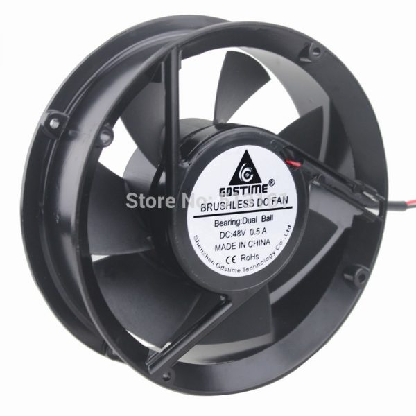 Gdstime 17251 17cm 170mm DC 48V 0.5A 2 Wire Ball Bearing Metal Industrial Cabinet Cooling Fan