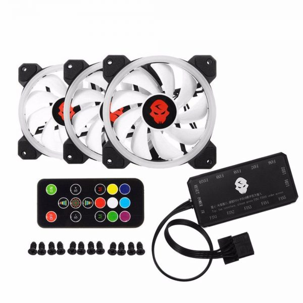 Computer PC Cooler Cooling Fan Double Ring 366 Modes 10 Level Adjust Speed RGB LED 120mm Cooling Fan For CPU High-airflow