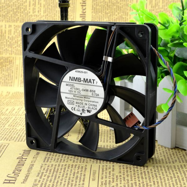 Free Shipping NMB-MAT 4710KL-04W-B56 12cm 12025 120mm 0.72A 4-wire PWM industrial case axial cooling fans thermostat 12025