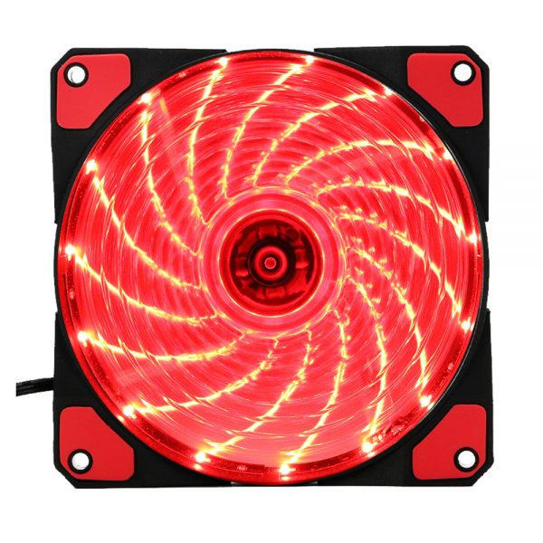 15 Lights LED PC Computer Chassis Fan Case Heatsink Cooler Cooling Fan DC 12V 4P 120*120*25mm red