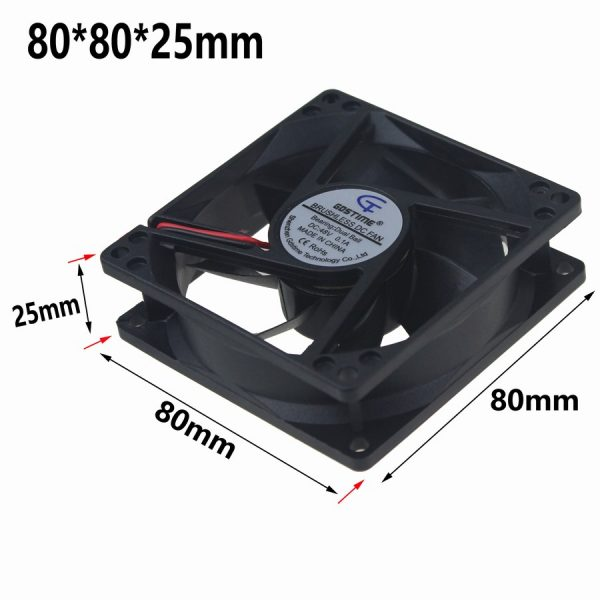 1 Piece Gdstime 48 Volt 2 Pin CPU Fan 80mm x 80mm x 25mm 48V Dual Ball Bearing Cooling Fan 8cm 8025
