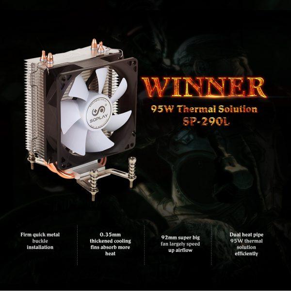 Original SOPLAY CPU Cooler 2 Heatpipes 3pin 9.2cm Fan PC Computer for Intel LGA 1150 1151 1155 1156 AMD CPU Cooling Radiator Fan