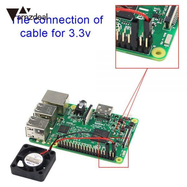 amzdeal Cooling Fan Kit Heat Sink For Raspberry Pi 3/2/B+ Model B Adjustable 3.3V/5V Model Computer Black