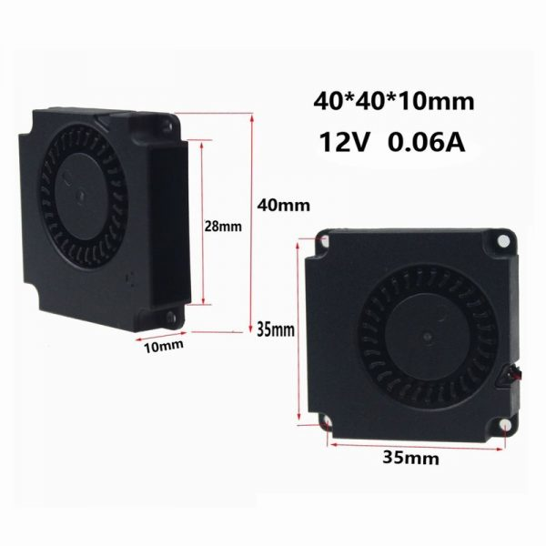 5PCS Gdstime 4010 3D Printer Cooling Fan 40mmx40mmx10mm 2Pin 12V 4cm DC Brushless Turbo Centrifugal Blower Cooler