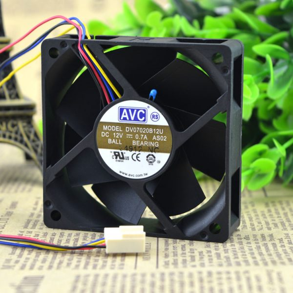 Original AVC DV07020B12U 7020 70*70*20mm 7cm DC 12V 0.7A dual ball bearing server inverter cooling fan