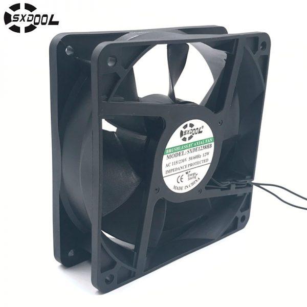 Ec motor cooling fan 220V 110V 230V 115V SXDOOL SXDE12038HB 120mm 12038 12V 3500RPM 147.6CFM axial cooler