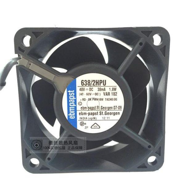 ebmpapst 638/2HPU 638 2HPU Server Square Fan DC 48V 1.8W 60x60x25mm 4-wire