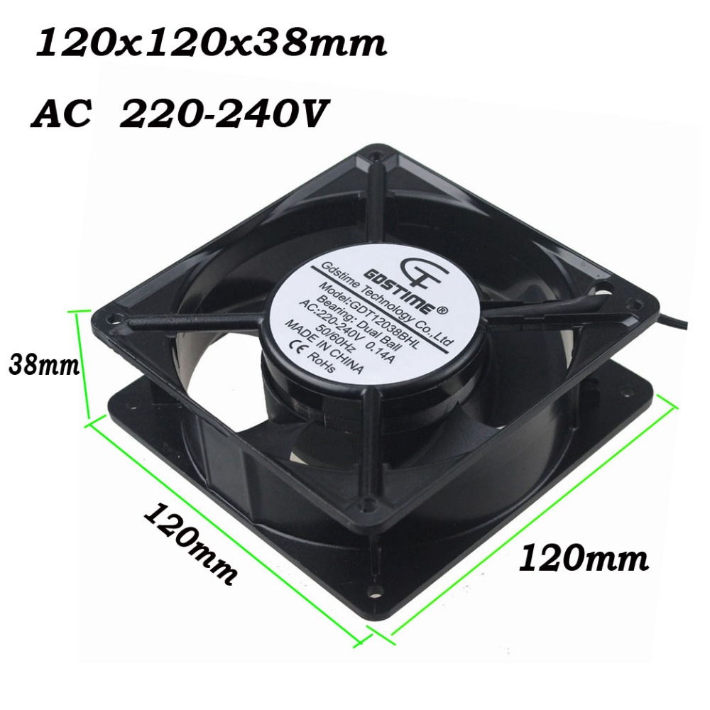 Gdstime 2 Pcs 120x38mm Double Ball Bearing Wires 220v 240v Ac Fan Wiring 220 Volt 120mm Metal Case