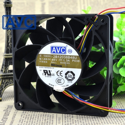 AVC 2B12038B48U -P055 DC 48V 1.3A 12cm 120mm 12038 4-wire PWM server inverter axial cooling fans cooler