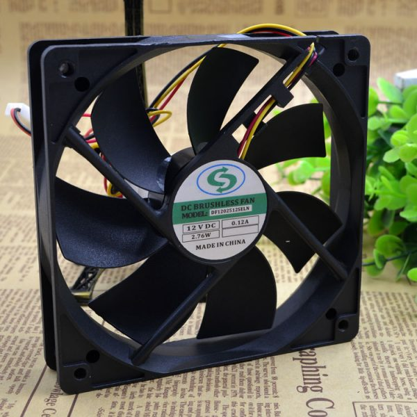 Free Delivery.DF1202512SELN 12025 12 v 0.10 A 12 cm chassis power supply fan Silent fan