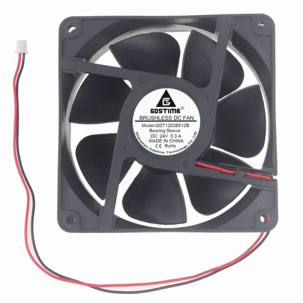 2pcs Gdstime Big Airflow 2 Pin DC Fan 24V 12038S 120mm x 38mm Industrial Machine Cooling Fan 120mm 12cm