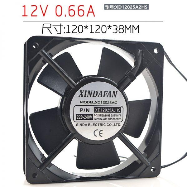 New original XD12025A2HS 12CM 220V 12025 AC aluminum frame cooling fan
