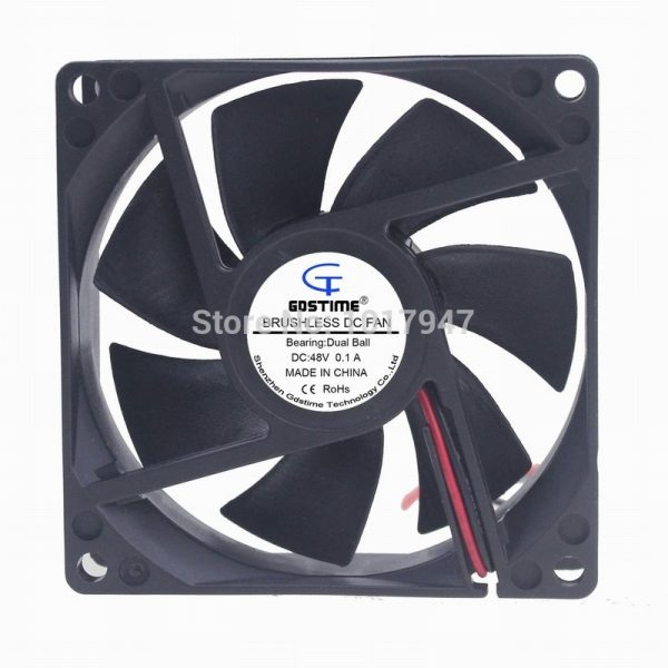 2Pieces LOT Gdstime Gdstime Ball DC 48V 2Pin 80mm 80mm*25mm 8025 Exhaust Cooling Fan