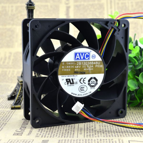 AVC 2B12038B48U-P038 DC 48V 1.3A 12cm 120*120*38mm 12038 4-wires PWM server inverter axial cooling cooler fan