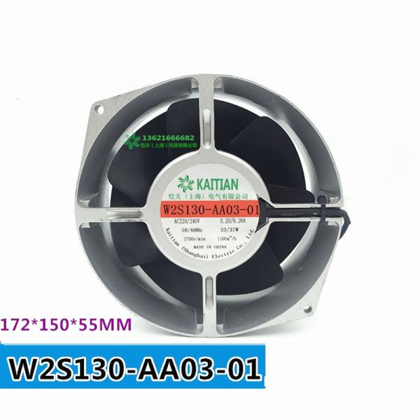 W2S130-AA03-01 Double Ball Bearing Cooling Blower Turbo Fan AC 230V 33W 172*150*55mm 2 Wires 2700RPM Cabinet cooling fan