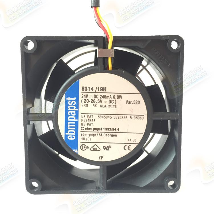 ebmpapst 8314/19H 8314/2H 80*80*32mm 24V 6W 3pin Ball Bearing cooling fan