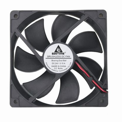 1 pcs Gdstime 12cm 1mm x 25mm DC 24V Dual Ball Bearing Brushless Cooling Fan 1x1mm 0.15A 125 2Pin PC Case Cooler