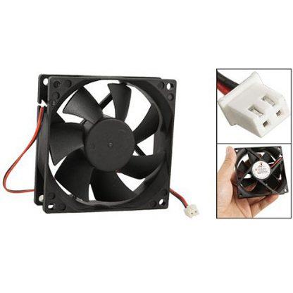 BSBL DC 12V Black 80mm Square Plastic Cooling Fan For Computer PC Case