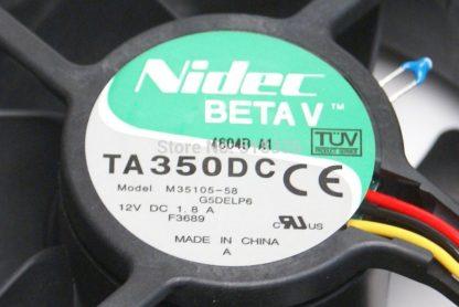 NIDEC BetaV TA350DC M35105-58 Case Cooling Thermal Sensor Fan 12V 1.8A 3-Pin (3-Wire Lead) 90mm x 90mm x 38mm