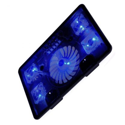 "14"" 15.6"" 17"" Cooler Pad with 5 fans 2 USB Port slide-proof stand For Laptop Notebook Cooling Fan with light"
