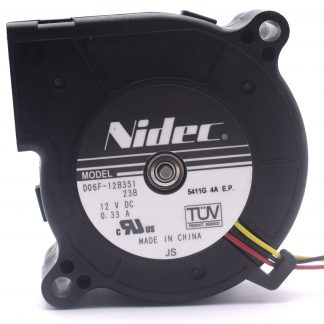 Nidec Original D06F-12B3S1 Double Ball Bearing 6025 60*60*25mm Computer Laptop Blower Cooling Fan DC 12V 0.33A 3.96W
