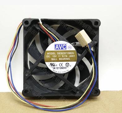 Wholesale: AVC 12V 70*70* DESC0715B2U 0.7A 4 wire temperature controlled ball large air CPU fan
