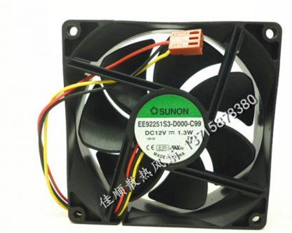 Wholesale: SUNON 9025 9225 12V 1.3W 9cm EE92251S3-D000-C99 3 wire case mute fan